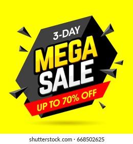 Mega Sale banner design template, 3 day special offer, vector illustration