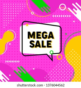 Mega Sale banner, logo, mnemonic, symbol, icon template in memphis style. Social media post template with memphis style elements and abstract geometric shape - Vector