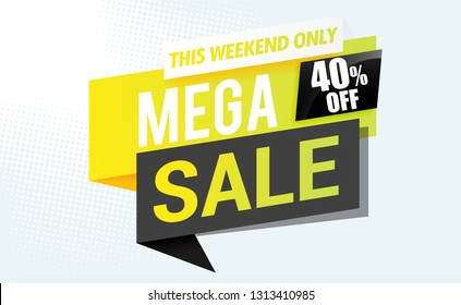 Mega sale banner modern template.Vector design.