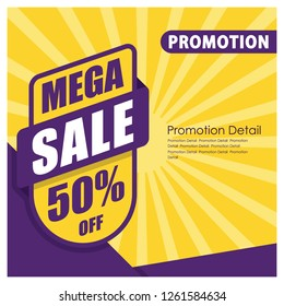 Mega Sale Banner and Poster. 50% off. Promotion Banner and Poster Vector illustration