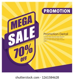 Mega Sale Banner and Poster. 70% off. Promotion Banner and Poster Vector illustration