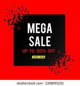 mega sale banner red modern design