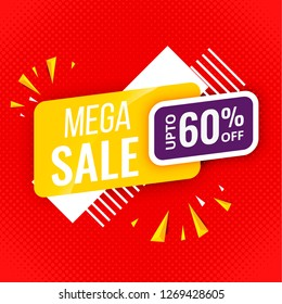 mega sale banner red template