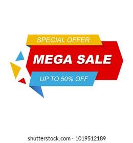 Mega sale banner. Special offer.