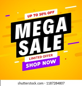 Mega Sale banner template design. Big sale special offer promotion discount for business.