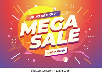 Mega Sale banner template design, Big sale special offer. Vector