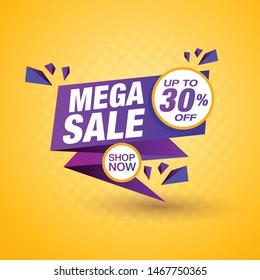 Mega sale banner template design, shop now special offer. Vector illustration