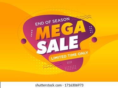 Mega sale banner template design, Big deal special offer end of season  vector illustration. for offline online shop promotion discount sign