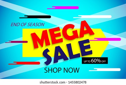 Mega sale banner template end of season shop now 60% off text. ready to use for advertising, discount banner, online shop promotion, holyday season in modern blue gradient background. vector eps 10