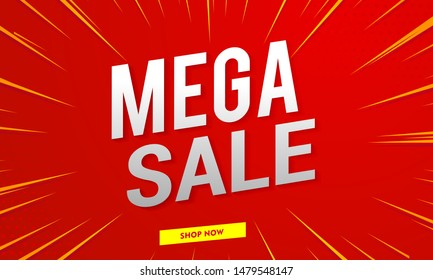Mega sale banner template. Special offer vector background
