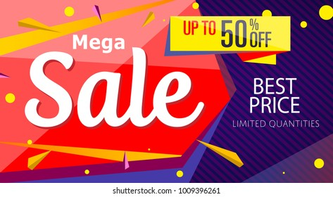 Mega sale banner template in trendy style. Retail marketing information, new advertising campaign, holiday shopping, commerce promo poster. Best price supermarket proposition vector illustration.