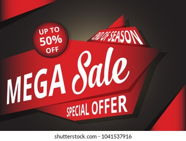 Mega Sale Banner template. Vector illustration.