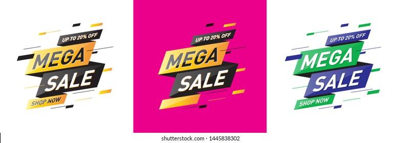 Mega sale Concept, Template, Banner, Logo Design, Icon, Poster, Offer, Unit, Label, Web Header, Background, Mnemonic. End of season sale banner. Vector, Illustration, Logo