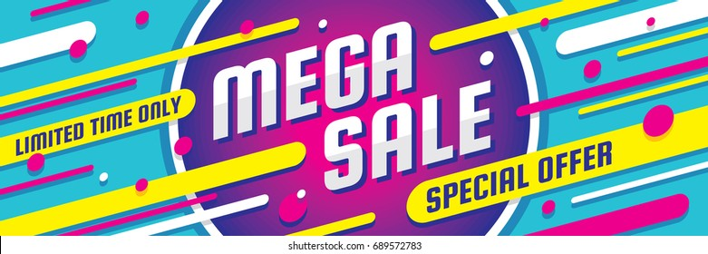 Mega sale discount - vector layout concept illustration. Abstract horizontal advertising promotion banner. Special offer.