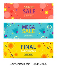 Mega sale and Final clearance banners set with hipster fashion geometric patterns 80s-90s, vector illustration in Memphis style. Can be used for web, page, header, ad, invitation. Design templates