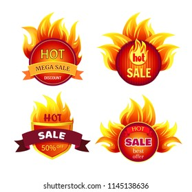 Mega sale hot discounts, best offer 50 percent off set of round labels with fire flame isolated vector. Clearance badge, burning promo icon in heat sparkles