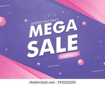 Mega Sale Poster Or Banner Design In Purple And Pink Color.