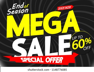Mega Sale, poster design template, up to 60% off, end of season, special offer, red ribbon,  vector illustration
