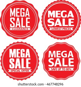 Mega sale red label set,  vector illustration
