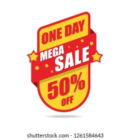 Mega Sale and special offer. 50% off. Limited One Day. Vector illustration.