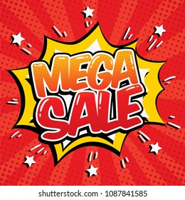 Mega Sale star bubble comic style vector illustration. Cartoon cloud with Mega Sale text on red rays background.