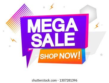 Mega Sale, tag design template, flash discount speech bubble banner, app icon, vector illustration