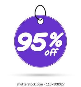 Mega Sale tag, discount 95% off, banner design template, vector illustration