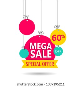 Mega Sale tag or label with 60% discount offer on white background for advertising concept.