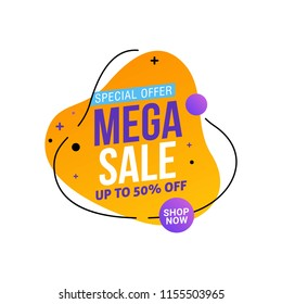 Mega Sale tag and sticker template design. Special offer 50% Discount