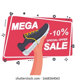 Mega sale template for advertising and promotion. Sports shoe in the seller's hand. Discount on shoes. Super offer. Vector illustration flat design. Isolated on white background. Place for text.