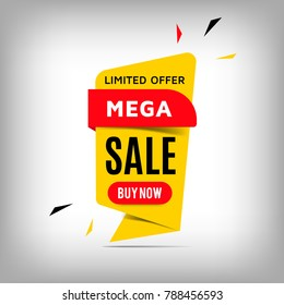 Mega Sale yellow banner design. Creative discount poster, special offer tag. Vector illustration, eps10