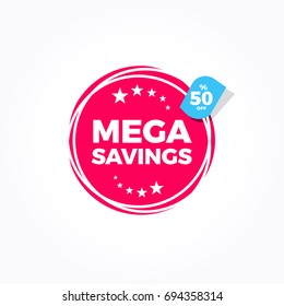 Mega Savings 50% Off Label