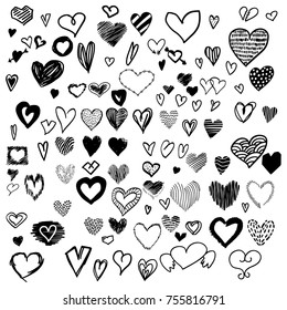 Mega Set of 100+ Handdrawn Hearts with Brush Marker Crayon Doodle Style