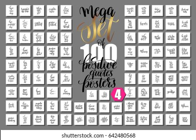 mega set of 100 positive quotes posters about love and life, motivation and inspirational phrases to design, greeting card, printable wall art, calligraphy vector illustration big collection