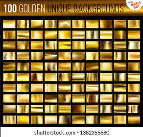 Mega set of 100 unique gold backgrounds. Golden glossy fabric with shimmery gold colors. Vector illustration