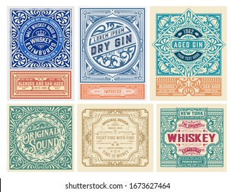 Mega set of 6 vintage labels. Vector layered