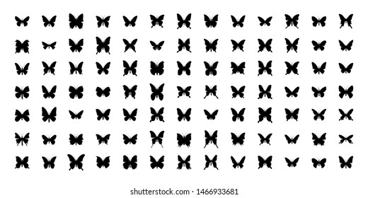 Mega Set of 91 butterflies silhouettes. Vector illustration. Isolated on white background.