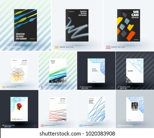 Mega set of abstract templates for business, trendy colorful sketch chaos lines, design for website, banner, stand