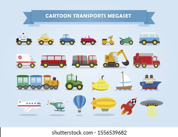 Mega set of cars, vehicles, and other transports. Vector illustration. Funny cartoon style for kids.