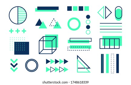 Mega set collection of memphis design elements graphic design. Template for corporate or company business project. Eps 10 illustration.