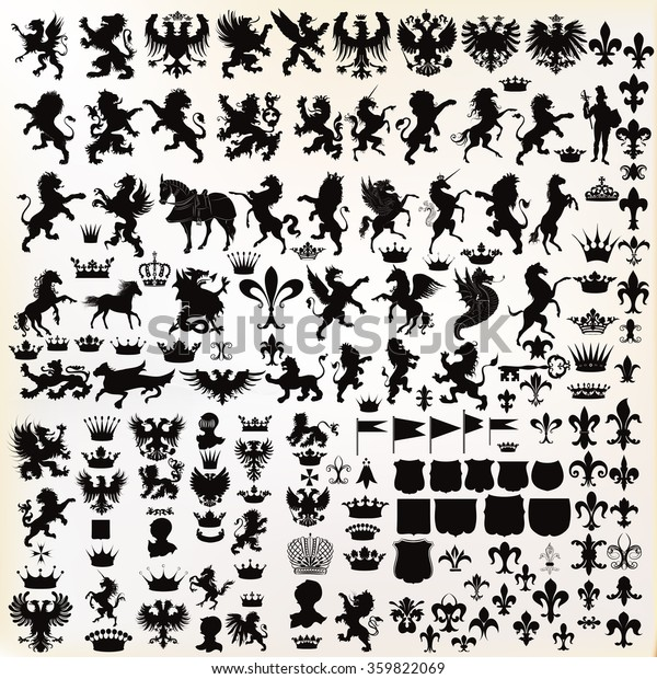 Mega set or collection of vector high quality shapes for heraldic projects