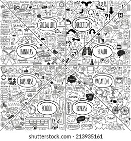 Mega set of doodle icons. Vector illustration