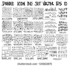 MEGA set of doodles of Back to school, Arrow ,Business, Social shopping elements, tree, Info, Internet, Universal, Party, Human, Creative, City scape, Sport, summer, Frame, Font, Banner, Heart,Music
