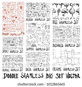 MEGA set of doodles seamless vector background.