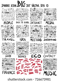 MEGA set of doodles. Super collection of people ,Business and finance, Social media shopping elements, Info, Internet, Creative, Travel, Banner ribbon, Music, Meeting, Contact, Eco universal set