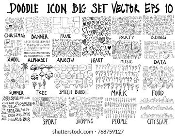MEGA set of doodles vector. Super collection of Christmas, ribbon, frame, heart, party, business, school, alphabet, arrow, music, info, summer, tree, bubble, mark, food, 2018, sport, shop, human, city