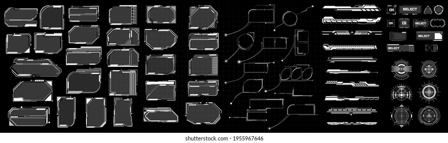 Mega set of futuristic high-tech elements in the style of HUD. Frames, footnotes, sights, buttons in the game style. Modern elements of cyberpunk. Vector illustration