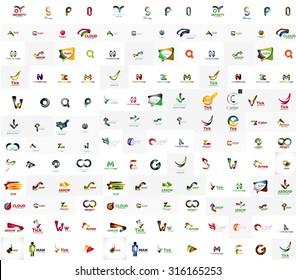 Mega set of geomeric company logos. Corporate business branding design elements