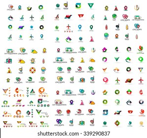 Mega set of geomeric company logos. Corporate business branding design elements. Vector letters and abstract shapes