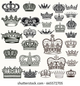 Mega set of hand drawn crowns in vintage engraved style